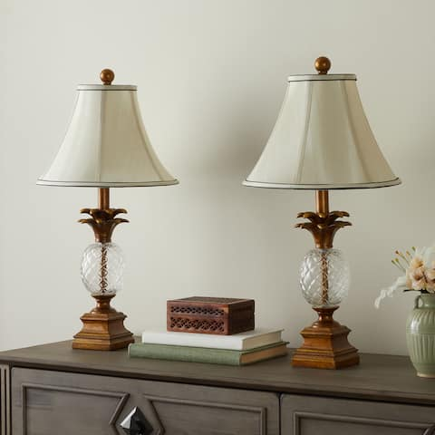Abbyson Alexandra Antiqued Gold Pineapple 23.5-inch Table Lamps (Set of 2)