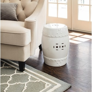 ABBYSON LIVING Madras White Ceramic Garden Stool