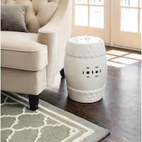 Abbyson Madras White Ceramic Garden Stool