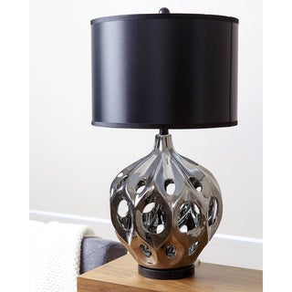 ABBYSON LIVING Eva Silver Plated Ceramic Table Lamp