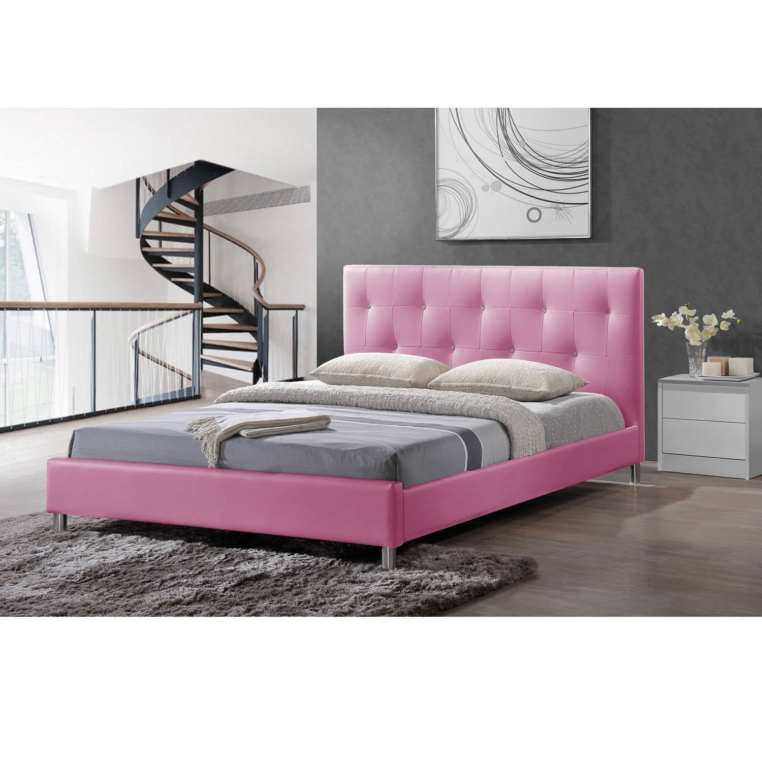 Baxton Studio Barbara Pink Modern Full-size Bed with Crys...