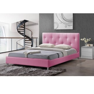 Barbara Pink Modern Full-size Bed with Crystal Button Tufting