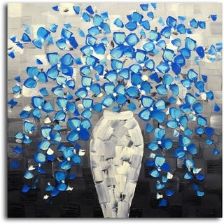 Cerulean Escape from the Vase' Original Oil Painting on Canvas