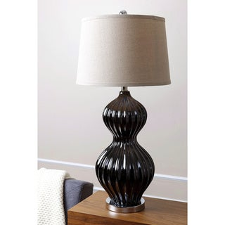 Abbyson Large Black Fluted Table Lamp