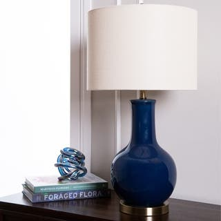 Blue table lamps for less overstock abbyson gourd navy blue ceramic table lamp aloadofball Choice Image