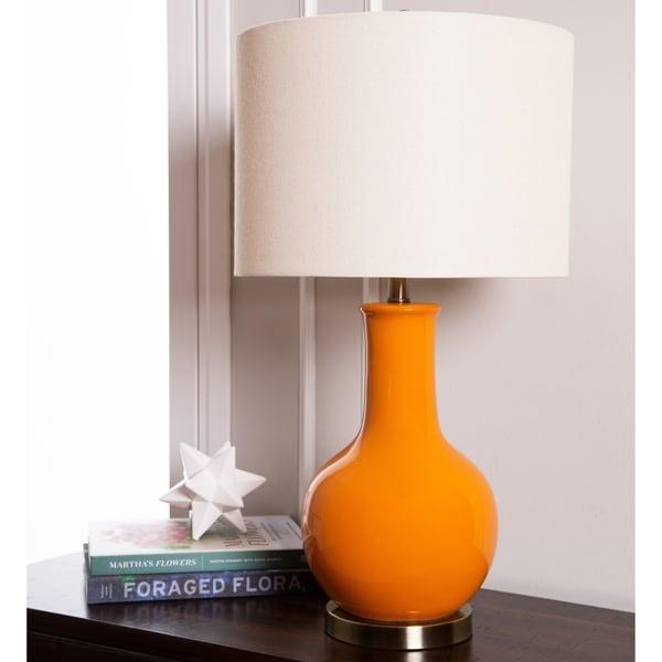 Abbyson Gourd Orange Ceramic 29-inch Table Lamp