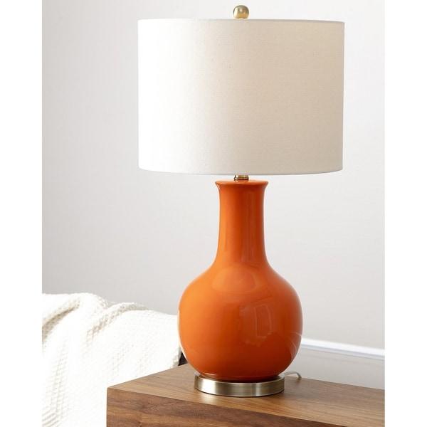 Abbyson Gourd Orange Ceramic Table Lamp