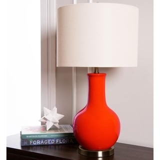 Abbyson Gourd Red Ceramic Table Lamp