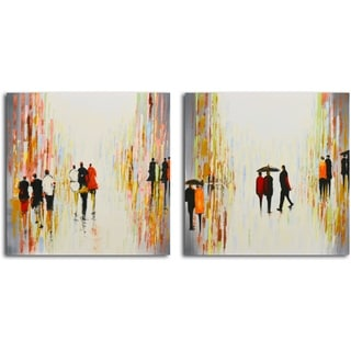 'Rainy Day Breaking' Original Painting on Canvas - Set of 2