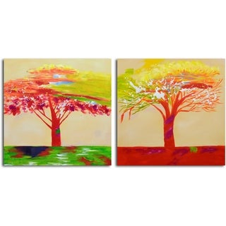 'Tree of Sunset' Original Painting on Canvas - Set of 2