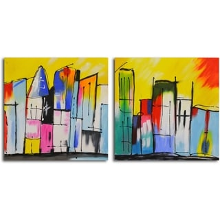 'House of a Different Color' Original Painting on Canvas - Set of 2