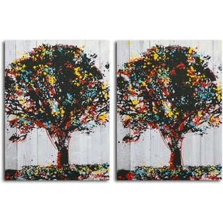 'Tree of Knowledge' print on Canvas - Set of 2