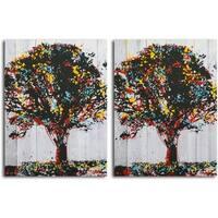 'Tree of Knowledge' print on Canvas - Set of 2