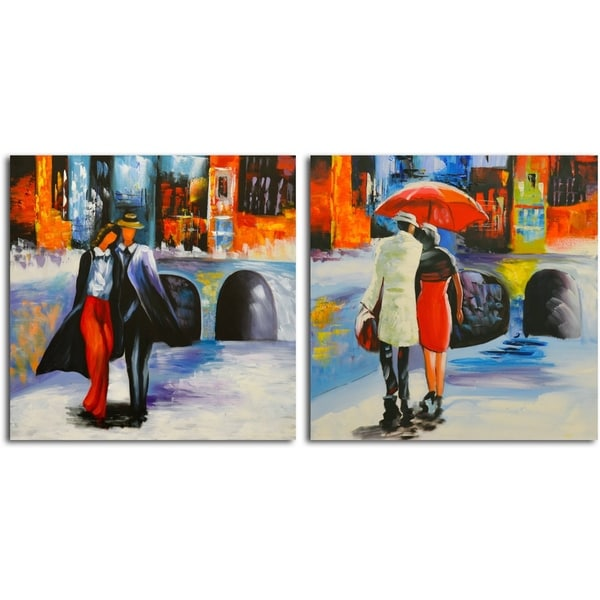'Coming and Going' Original Painting on Canvas - Set of 2