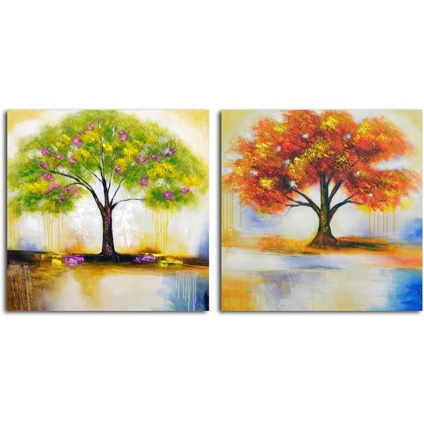 'Spring Tree and Autumn Leaves' Original Painting on Canvas - Set of 2