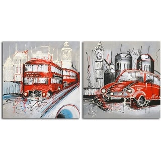 'London Passenger Deliveries' Original Painting on Canvas - Set of 2
