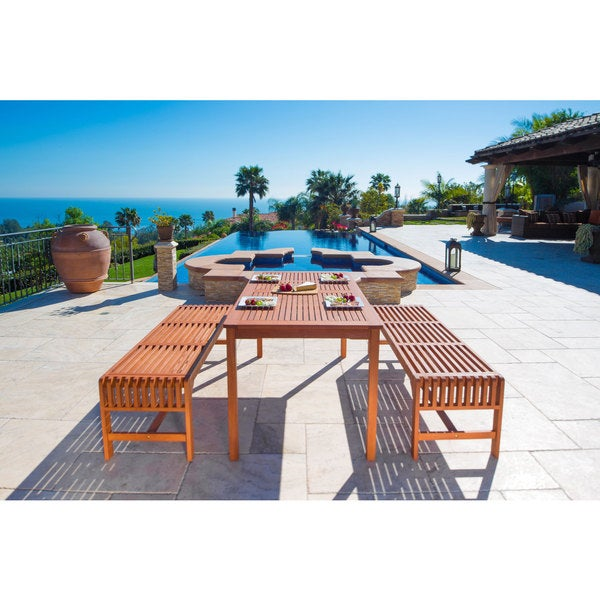 Malibu Eco Friendly 3 Piece Wood Outdoor Dining Set With Backless Benches