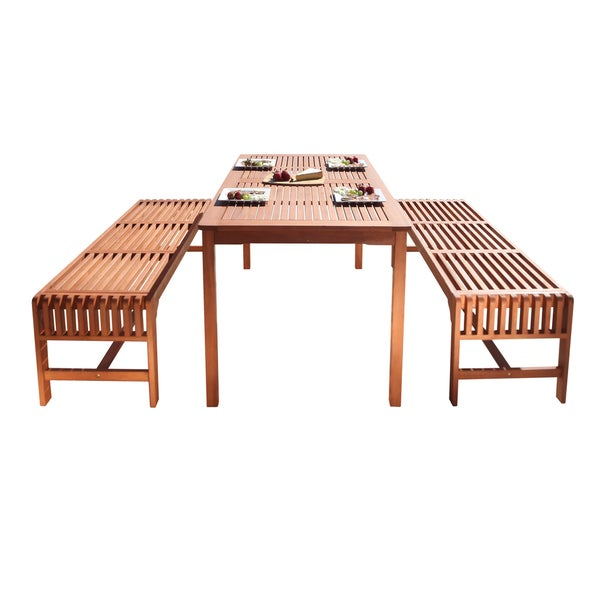 Malibu Eco Friendly 3 Piece Wood Outdoor Dining Set With Backless Benches    Free Shipping Today   Overstock.com   17206717