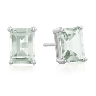 2 1/2 TGW Emerald Cut Green Amethyst Earrings In Sterling Silver