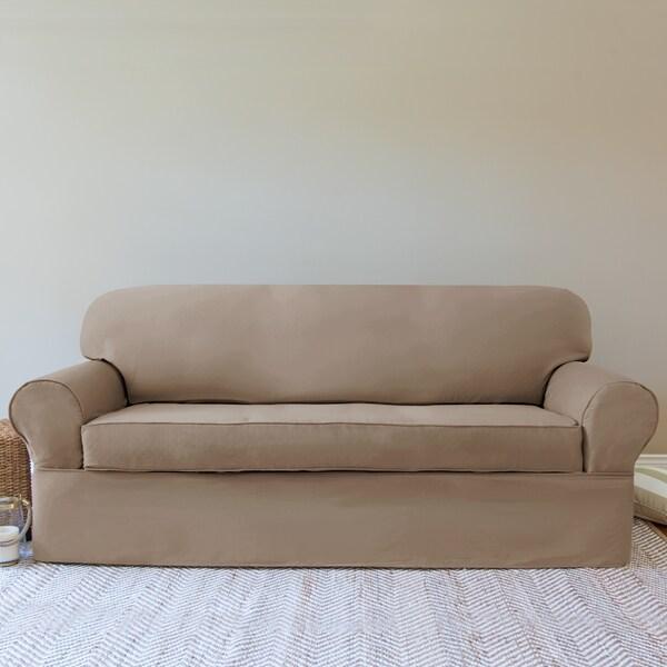 QuickCover Twill 2 piece Wrap Sofa Slipcover Free