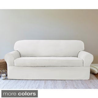 QuickCover Twill 2-piece Wrap Loveseat Slipcover
