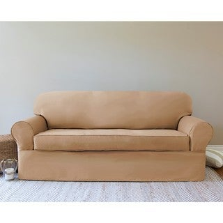 Twill 2-piece Wrap Loveseat Slipcover