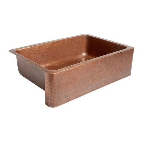 "Sinkology Adams 33"" Farmhouse Apron Front Sink in Pure Antique Copper"