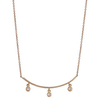 14k Rose Gold 1/4ct TDW Diamond Bar Necklace