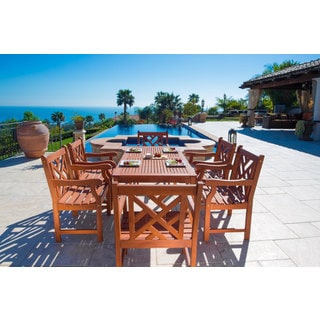 Malibu Eco-friendly 7-piece Eucalyptus Grandis Wood Outdoor Dining Set