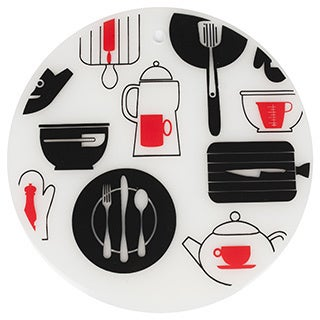 Sweet Home Collection 7.5-inch Round Silicone Trivet Set Breakfast Design (Set of 2)