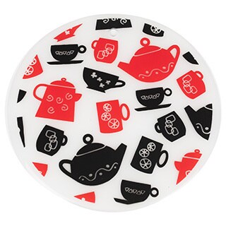 Sweet Home Collection 7.5-inch Round Silicone Trivet Set Tea Party Design (Set of 2)