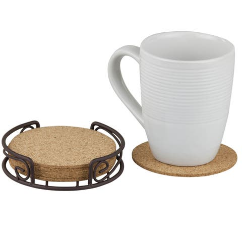 Sweet Home Collection Bronze and All-natural Cork Coaster (Set of 6)