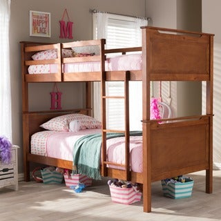 Wexford Wood Contemporary Oak Finish Twin Size Bunk Bed
