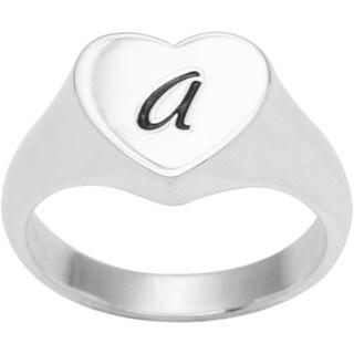 Sterling Silver Heart A-Z Script Signet Ring