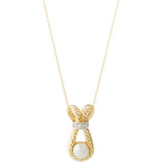 10k Yellow Gold Pearl and Diamond Accent Necklace (4-5 mm) - White