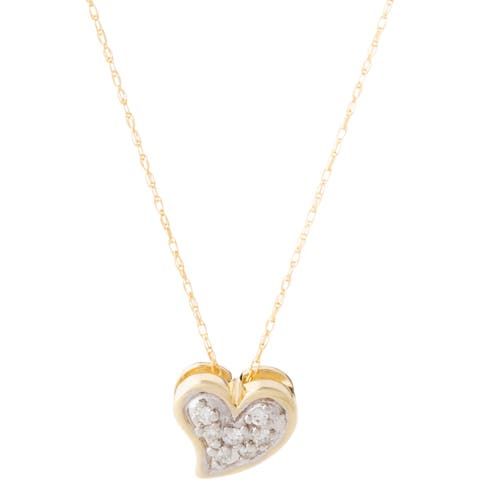 10k Yellow Gold Diamond Accent Heart-shaped Necklace - White