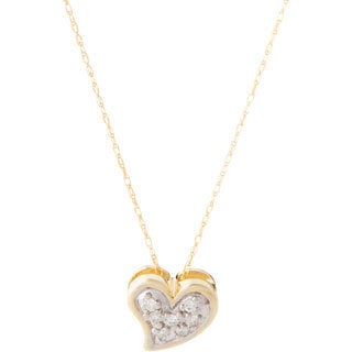 10k Yellow Gold Diamond Accent Heart-shaped Necklace