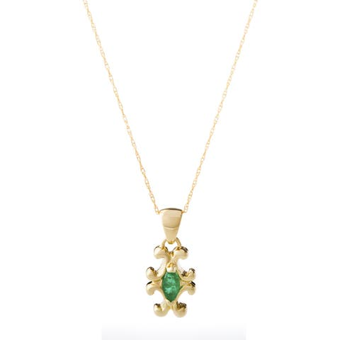 10k Yellow Gold Marquise Emerald Necklace - Green