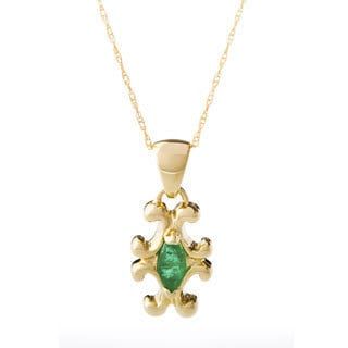 10k Yellow Gold Marquise Emerald Necklace