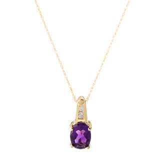 10k Yellow Gold Amethyst and Diamond Accent Necklace (H-I, I1-I2)