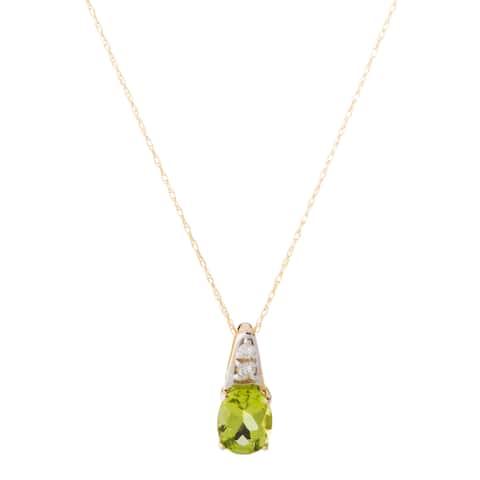 10k Yellow Gold Peridot and Diamond Accent Necklace (H-I, I1-I2)