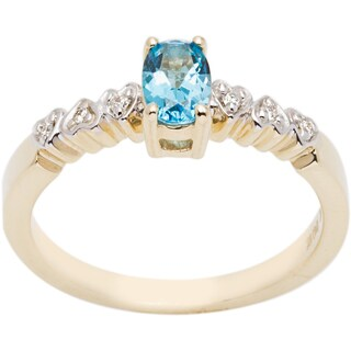 10k Yellow Gold Blue Topaz and Diamond Accent Ring (H-I, I1-I2)