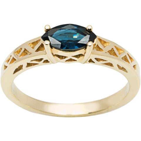 10k Yellow Gold Blue Sapphire Ring