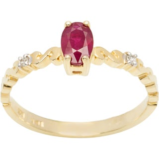 10k Yellow Gold Ruby and Diamond Accent Ring (H-I, I1-I2)