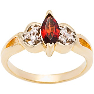 10k Yellow Gold Garnet and Diamond Accent Ring (H-I, I1-I2)