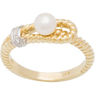 10k Yellow Gold Pearl and Diamond Accent Ring (H-I, I1-I2)