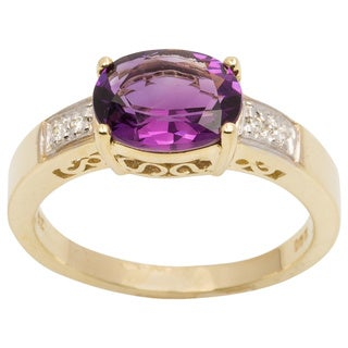 10k Yellow Gold Amethyst and Diamond Accent Ring (H-I, I1-I2)
