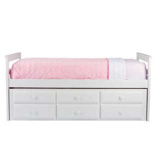 Ballina White Wood Contemporary Twin Size Trundle Bed