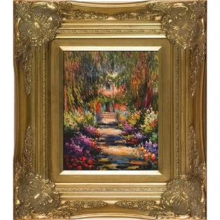 Claude Monet Garden Path at Giverny Hand-painted Framed Canvas Art