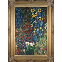 Gustav Klimt Farm Garden with Sunflowers Hand-painted Framed Canvas Art